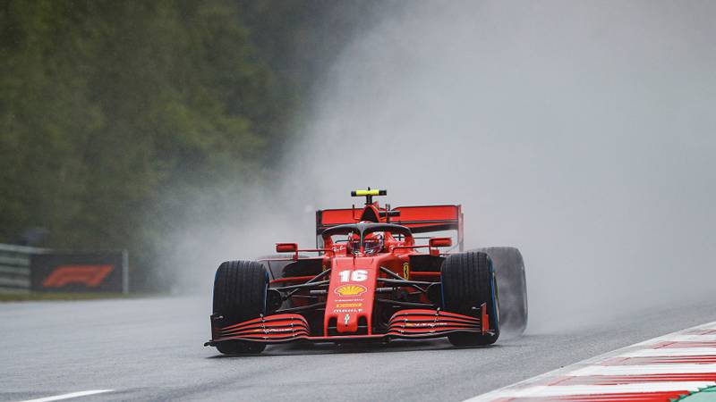 Charles Leclerc raises a cloud of spray during qualifying for the 2020 F1 Styrian Grand Prix at the Red Bull Ring