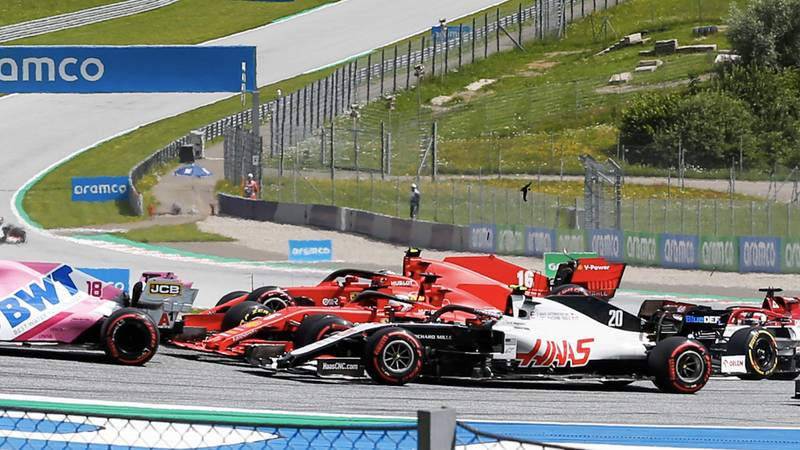 Charles Leclerc hits Sebastian Vettel in the opening laps of the 2020 F1 Styrian Grand Prix at the Red Bull Ring