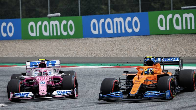 Lando Norris battles with Lance Stroll during the 2020 F1 Styrian Grand Prix at the Red Bull Ring