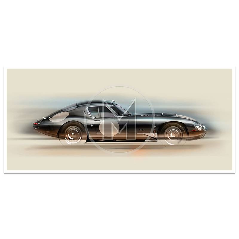 Product image for Jaguar E-Type Low Drag | Art Print | By Frederic Dams