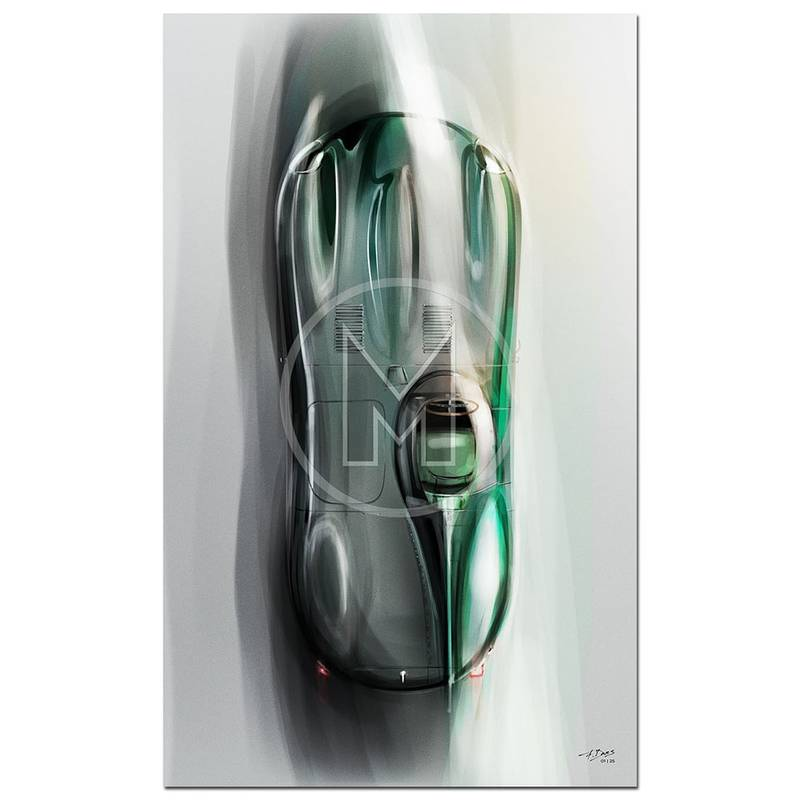 Product image for Jaguar D-Type | Overhead | Art Print | By Frederic Dams