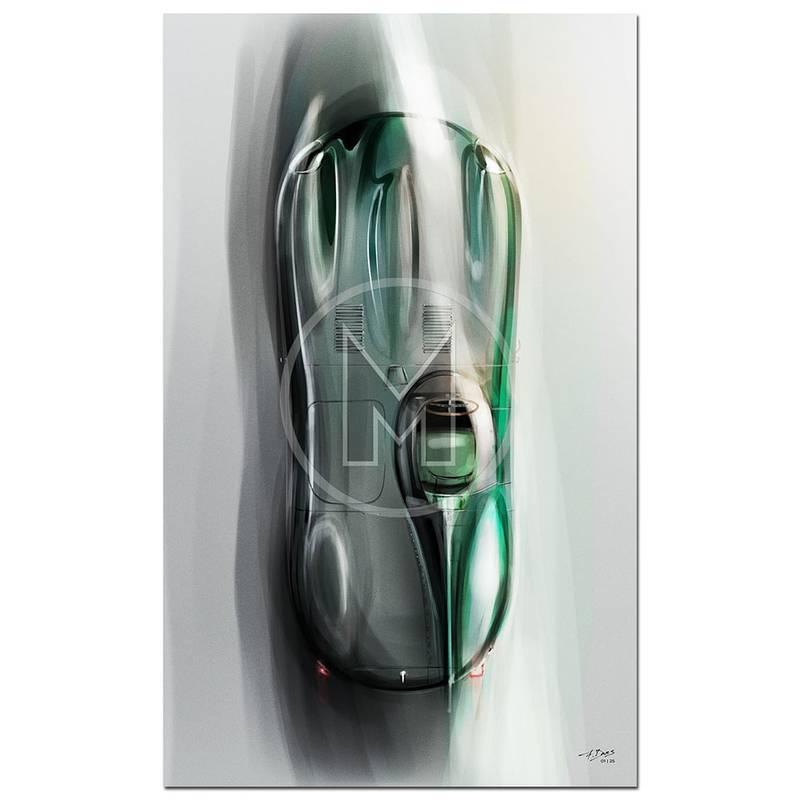 Product image for Jaguar D-Type - 1954 | Overhead | Frederic Dams | Art Print