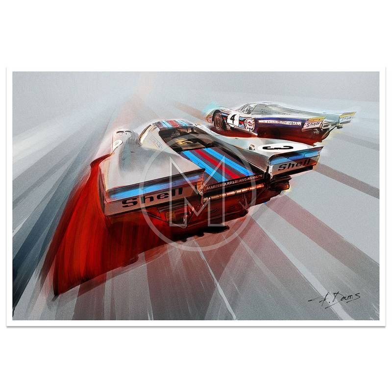 Product image for Martini Porsche 917K | Daytona 24 Hours 1971 | Art Print | By Frederic Dams
