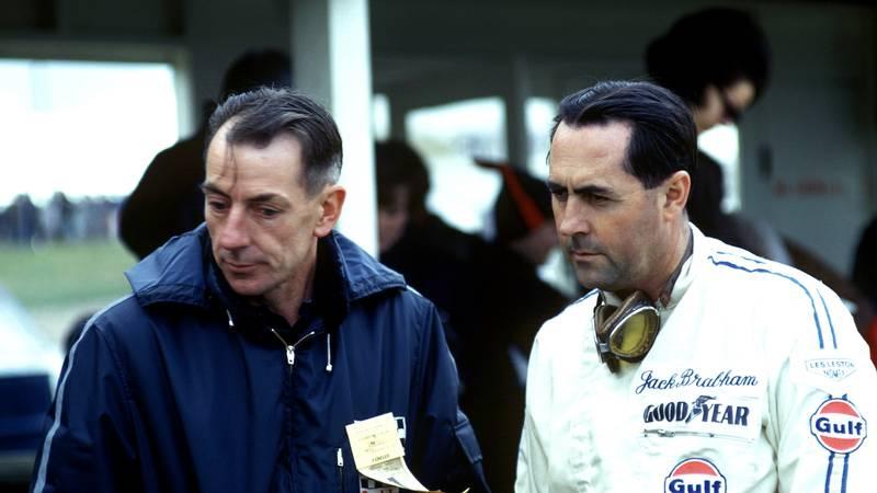 Ron Tauranac with Jack Brabaham at Watkins Glen in the 1960s
