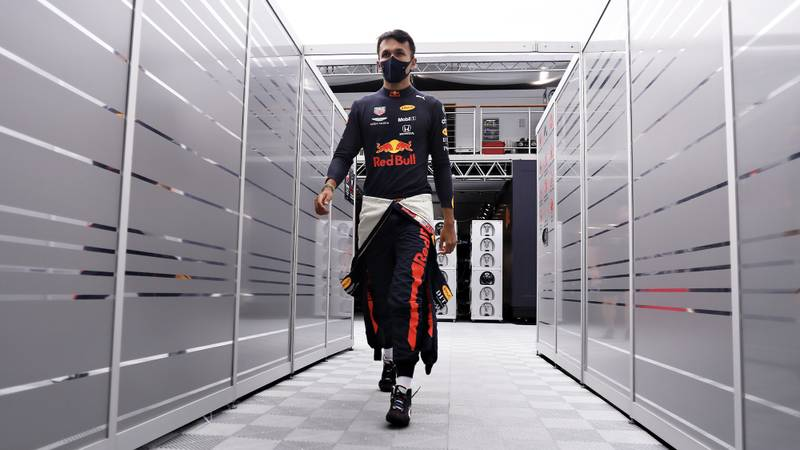Alex Albon walks towards his pit garage for qualifying at the 2020 F1 Hungarian Grand Prix
