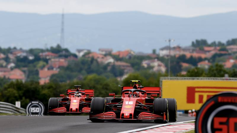 Charles Leclerc and Sebastian Vettel in qualifying for the 2020 F1 Hungarian Grand Prix