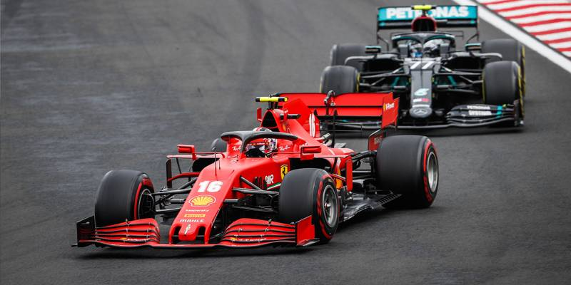 Charles Leclerc ahead of Valtteri Bottas in the 2020 F1 Hungarian Grand Prix
