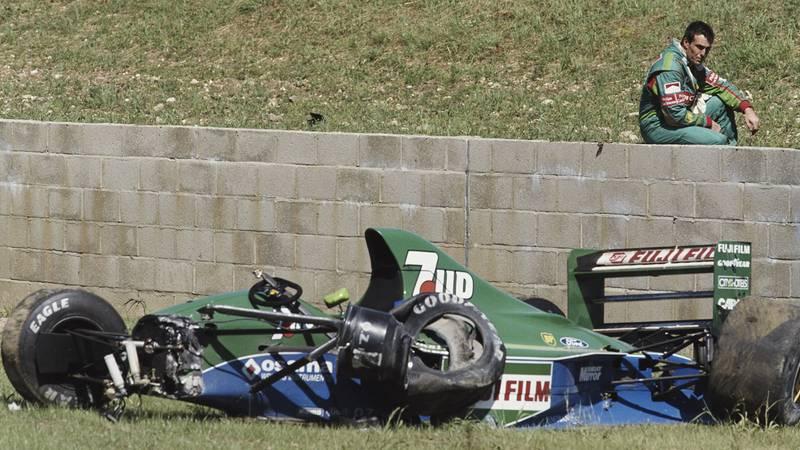 Andrea de Cesaris after crashing out of the 1991 F1 British Grand Prix