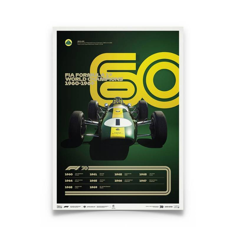 Product image for Formula 1® Decades | Jim Clark – Lotus 25 – 1960s | Collector's Edition poster