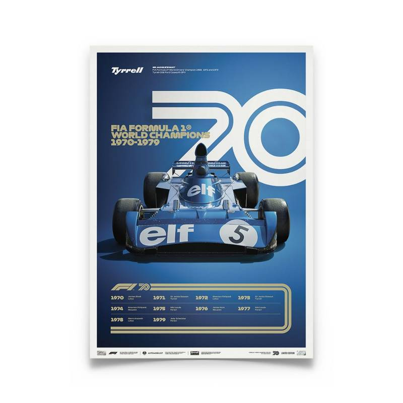 Product image for Formula 1® Decades |Jackie Stewart - Tyrell 006 - 1970s | Collector's Edition poster