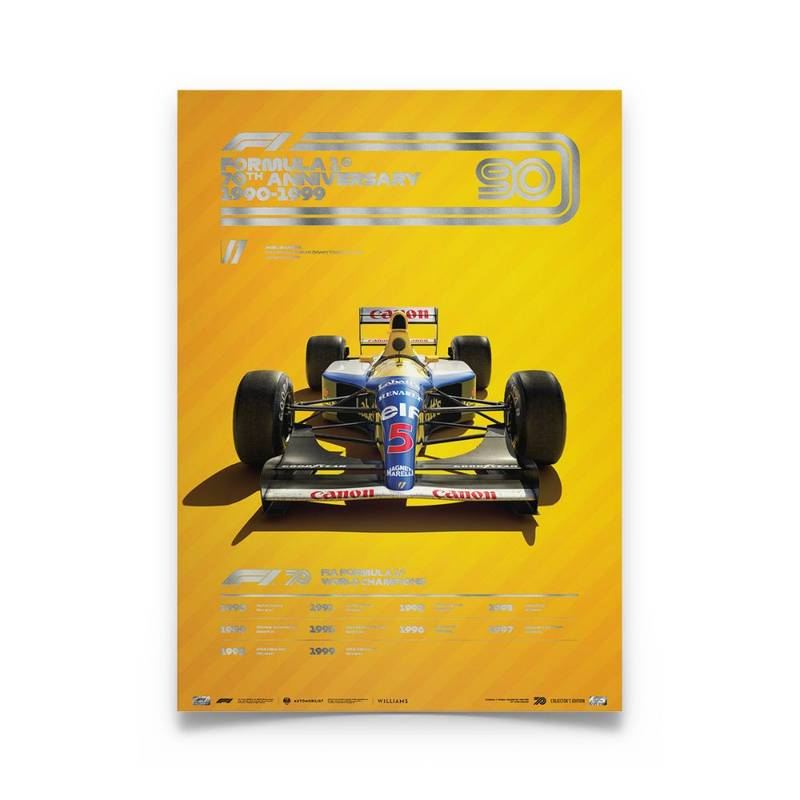 Product image for Formula 1® Decades | Nigel Mansell - Williams FW14B - 1990s | Automobilist |  Collector's Edition poster