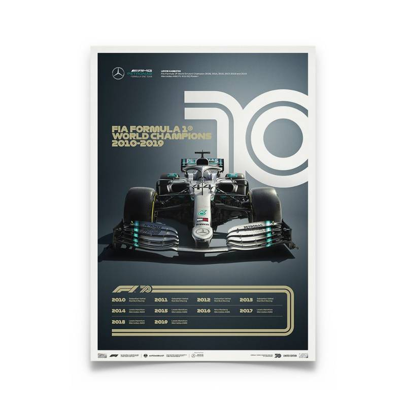 Product image for Formula 1® Decades | Lewis Hamilton - Mercedes W10 - 2010s | Collector's Edition poster