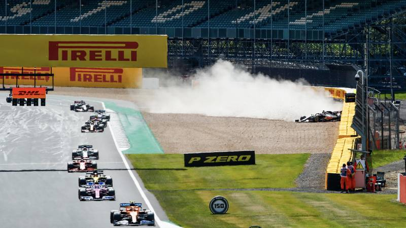 Kevin Magnussen crashes out at Silverstone on the forst lap of the 2020 F1 British Grand Prix