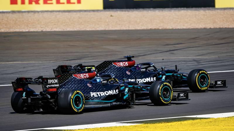 Valtteri Bottas follows Mercedes team-mate Lewis Hamilton closely at Silverstone during the 2020 F1 British Grand Prix
