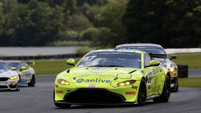 Jamie Caroline and Daniel Vaughan Aston MArtin GT4 at Oulton Park for the opening 2020 British GT round