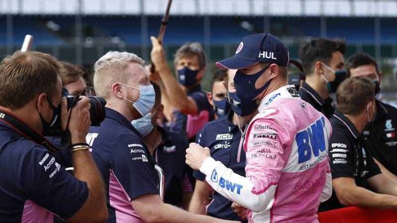 Nico-Hulkenberg-celebrates-qualifying-third-with-the-Racing-Point-Team-at-Silverstone-for-the-2020-F1-70th-Anniversary-Grand-Prix