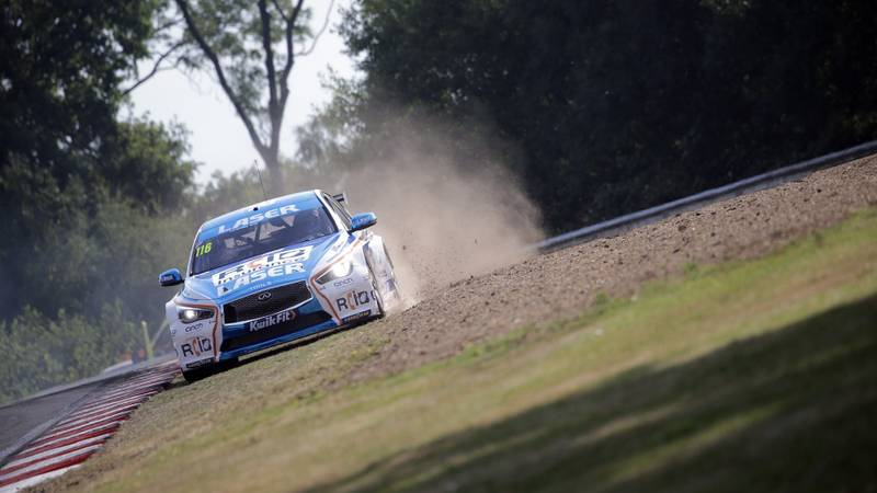 Ash Sutton runs off track at Brands Hatch GP in the 2020 BTCC meeting
