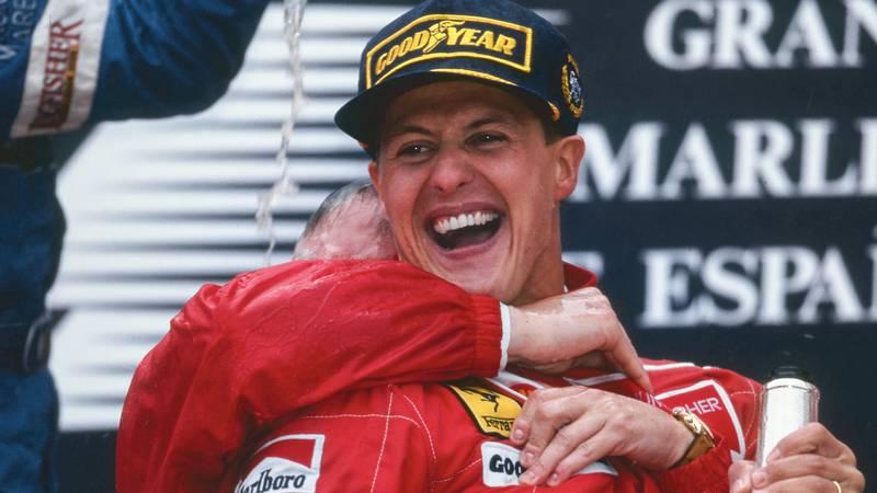 Michael Schumacher celebrates his first Ferrari victory at Barcelona in the 1996 Spanish Grand Prix
