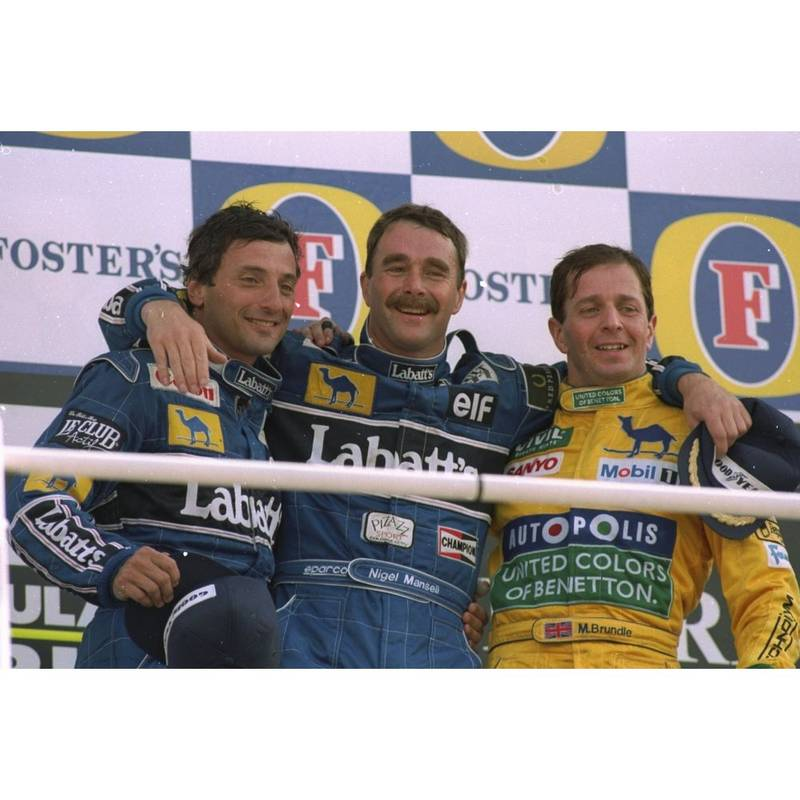Product image for 1992 Riccardo Patrese, Nigel Mansell and Martin Brundle | Getty Images | Premium print