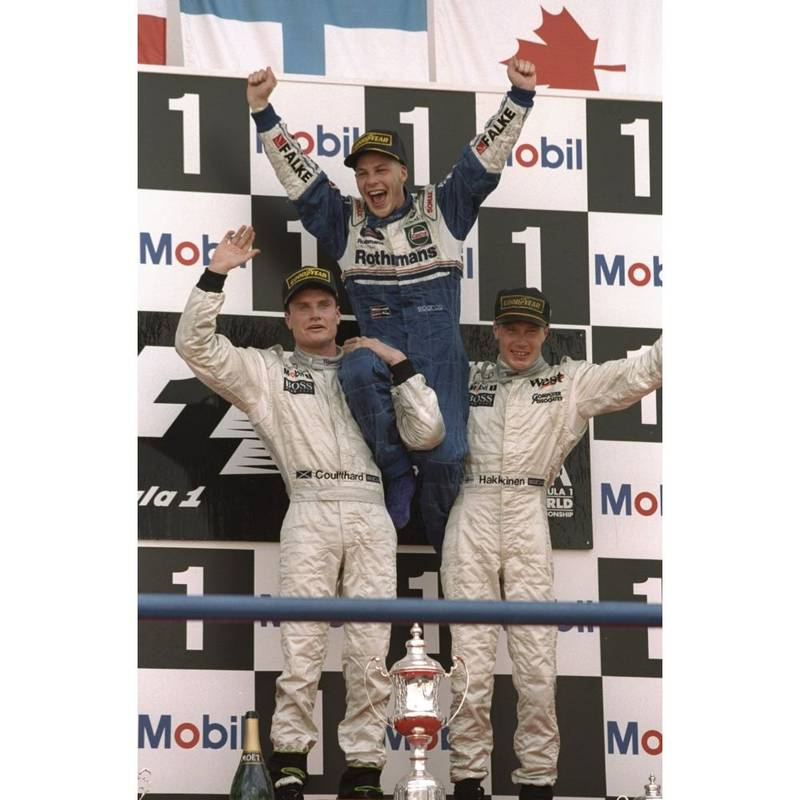 Product image for 1997 Jacques Villeneuve, David Coulthard and Mika Hakkinen | Getty Images | Premium print