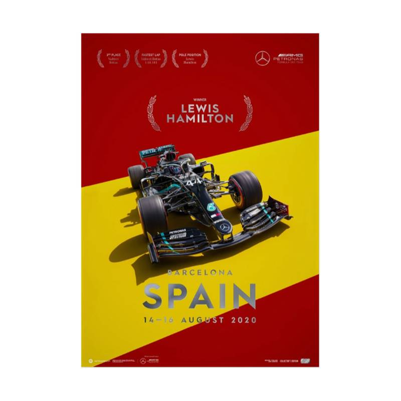 Product image for Lewis Hamilton - Mercedes W11 - Spain 2020 | Collector's Edition poster