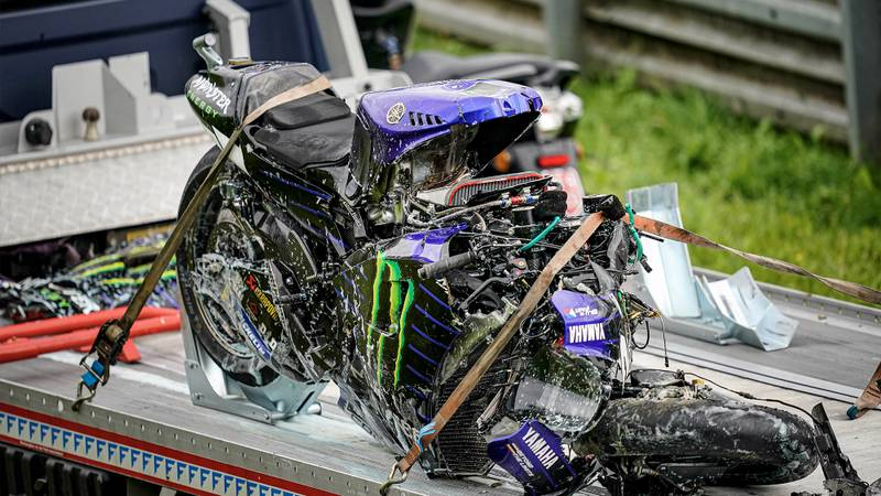 Maverick Vinales wrecked bike after he crashed out of the 2020 MotoGP Styrian Grand Prix with brake failure