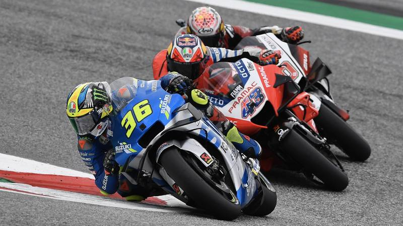 Joan Mir leads Jack Miller and Takaaki Nakagami during the 2020 MotoGP Styrian Grand Prix at the Red Bull Ring
