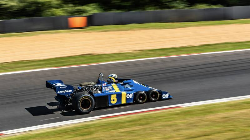 Side view of Jonathan Holtzman in his Tyrrell P34 during the 2020 Brands Hatch Historic Masters round