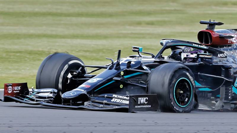 Lewis Hamilton's punctured left front tyre on the final lap of the 2020 F1 British Grand Prix at Silverstone