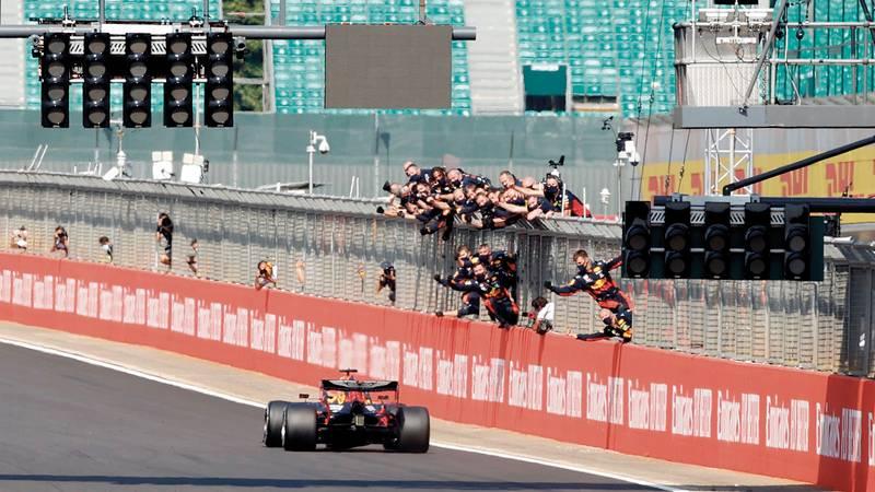 Max Verstappen wins the F1 70th anniversary Grand Prx at Silverstone