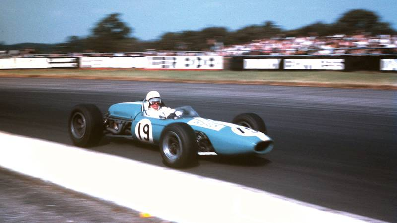 Bob Anderson in a DW Brabham BT11 at SIlverstone in 1967