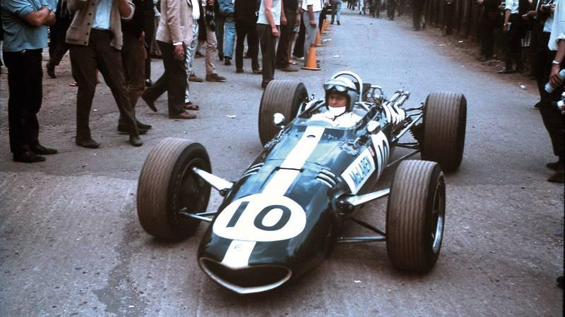 Bruce McLaren's Eagle Westlake during the 1967 British Grand Prix weekend at Silverstone