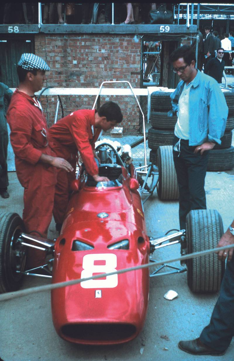 Chris Amon's Ferrari 312 in the paddock at the 1967 British Grand Prix