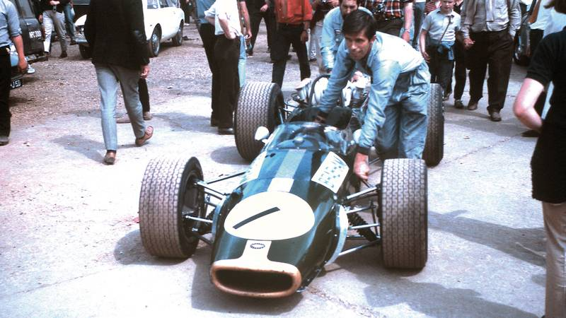 Jack Brabham's car at Silverstone in 1967