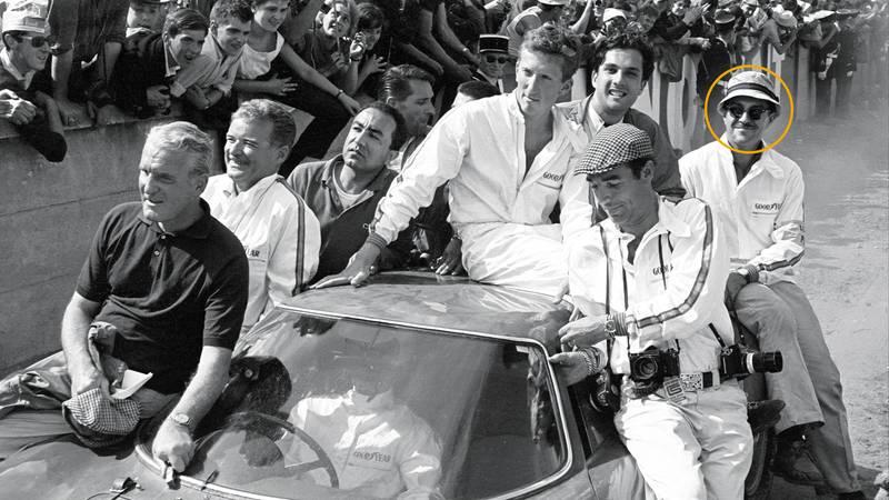 Jochen Rindt Masten Gregory and members of the 1965 Le Mans winning NART Ferrari team including Ed Hugus circled