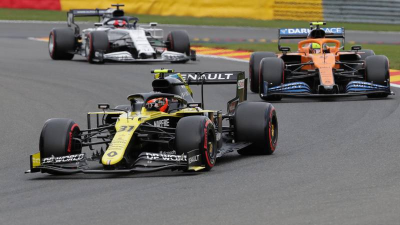 Esteban Ocon Lando Norris and Daniil Kvyat ahead of the 2020 Belgian Grand Proix at Spa Francorchamps