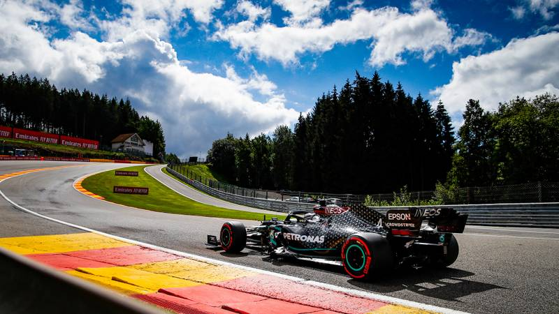 Lewis Hamilton drives through Eau roughe during qualofying for the 2020 F1 Belgian Grand prix