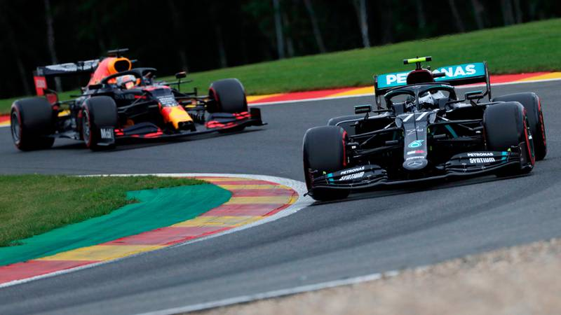 Max Verstappen follows VAltteri Bottas during wualifying for the 2020 F1 Belgian Grand Prix at Spa Francorchamps