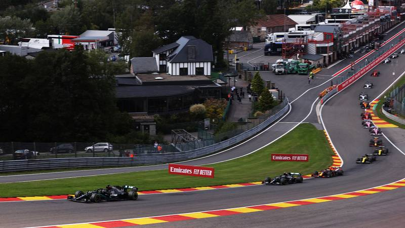 Lewis Hamilton leads through Eau Rouge at Spa Francorchamps on the first lap of the 2020 Belgian Grand Prix