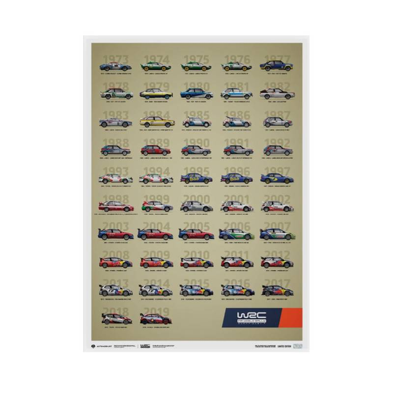 Product image for WRC Constructors' Champions 1973-2019 | 47th Anniversary | Automobilist | Limited Edition poster