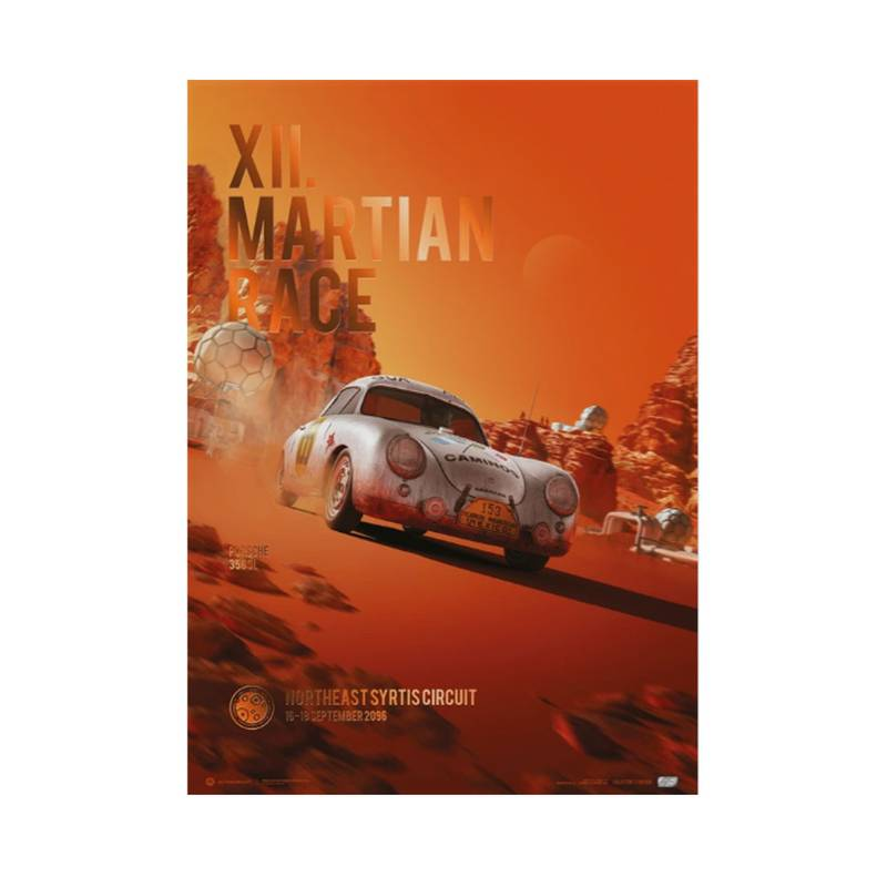 Product image for Porsche 356 SL - Future - XII. Martian Race - 2096 | Automobilist | Collector's Edition poster