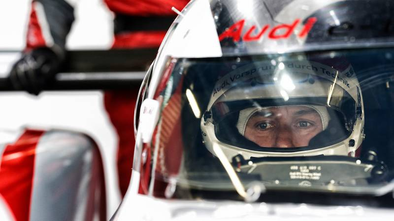 Tom Kristensen in 2014 sitting in his Audi R18 Etron at the 6 Hours of Silverstone
