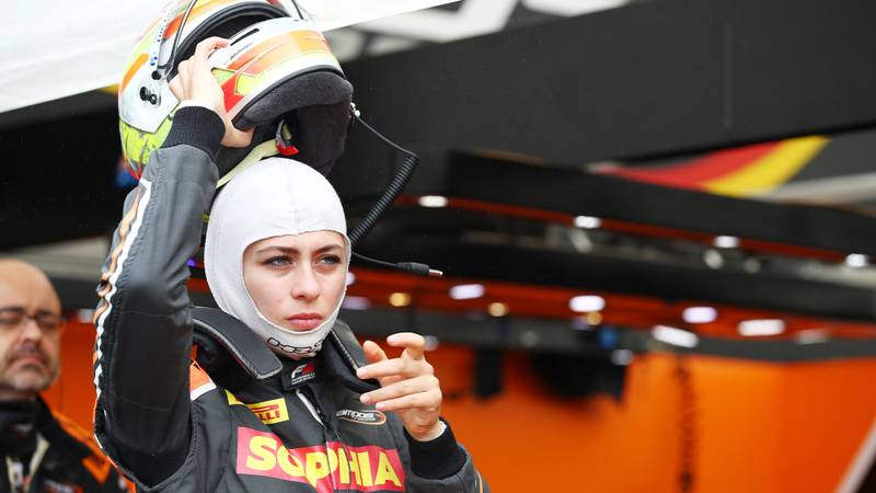 Sophia Floersch of Campos Racing in Hungary for the 2020 Formula 3 championship