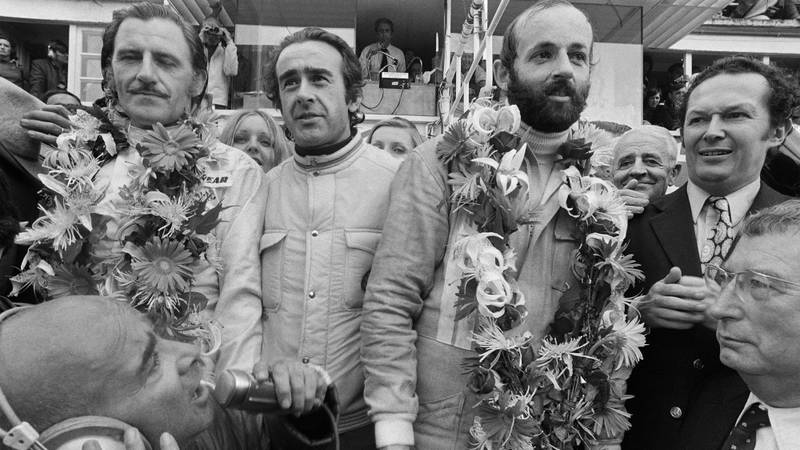 Graham Hill and henri Pescarolo on the podium after winning the 1972 Le Mans 24 Hours