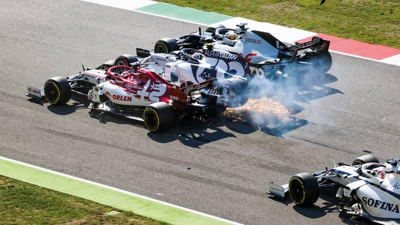 Kimi Raikkonen Pierre Gasly and Romain Grosjean collide at Mugello during the 2020 F1 Tuscan Grand Prix