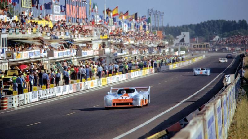 Gulf GR8 Ford of Derek Bell and JAcky Ickx at Le Mans in 1975