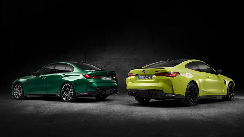 Rear view of 2021 BMW M3 and M4