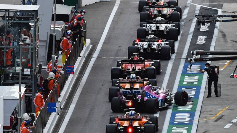 Lance Stroll's overheating Racing Popint is pulled out of the pitlane queue during qualifying for the 2020 F1 Russian Garnd Prix