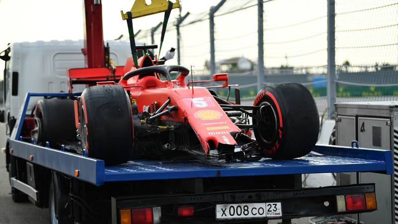 Sebastian Vettel's damaged Ferrari after qualifying for the 2020 f1 Russian Grand prix