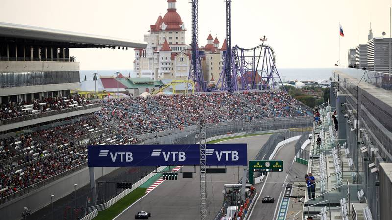 Start finish straight at Sochi during qualifying for the 2020 f1 Russian Grand Prix